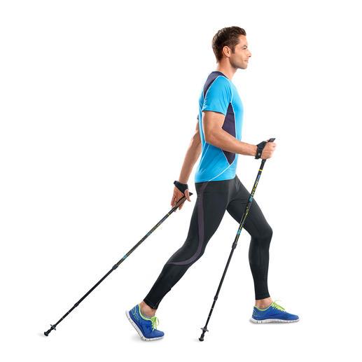 Aktive Walkingstöcke Effektiver trainieren dank patentiertem Feder-Widerstand. Belegt durch eine Studie der Modo Sports Academy, Schweden.