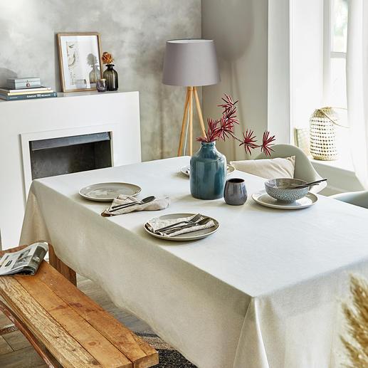 Tischwäsche Leinen-Look Selten: edle Leinenoptik – aber völlig pflegeleicht. Und erfreulich preiswert. Teflon™-Beschichtung lässt keine Flecken eindringen. Ihre Tischwäsche bleibt länger tadellos.