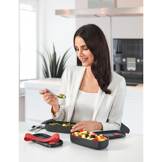Zwei separate Abteile halten Snacks, Warmspeisen, Obst, Käse,… sauber getrennt.