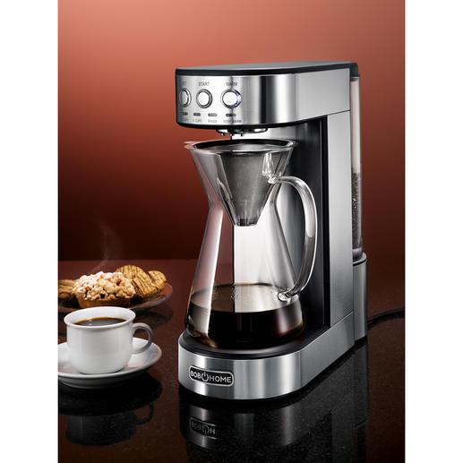 Pour-Over Kaffeemaschine Präzise Technik benässt das Kaffeepulver so gleichmässig und sorgsam wie von Hand. 1.800 W Heizleistung liefern die konstant optimale Brühtemperatur.