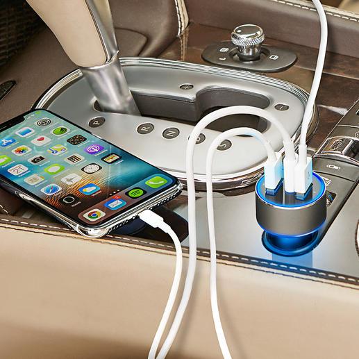 3-Port USB-Highspeed-Charger Integriert: USB-Typ-C-Port (3A), Qualcomm® Quick Charge™ 3.0 (3 A) und 2,4 A-Port. Ermittelt für jedes Mobilgerät die optimale Ladespannung und damit schnellstmögliche Ladegeschwindigkeit.