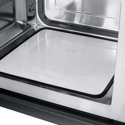 Der flache Keramik-Reflektor-Boden verteilt die Mikrowellen gleichmässig im gesamten 25-l-Garraum und spart Platz.
