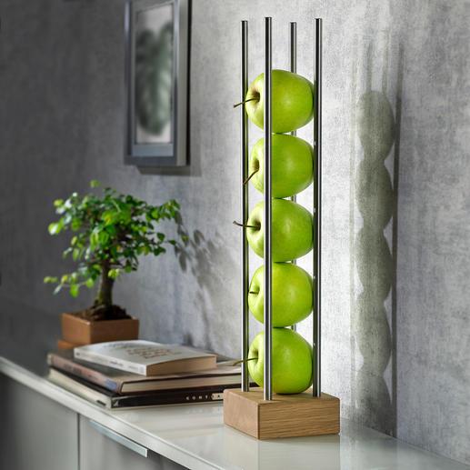 Obstständer Modernes Holz-Edelstahl-Design lagert und präsentiert Früchte platzsparend, luftig und dekorativ zugleich.