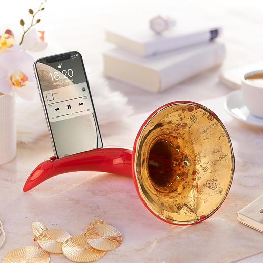 Nostalgischer Smartphone-Verstärker Ohne Strom, ohne Kabel. Nostalgie-Design mit verblüffender Funktion. Handmade in Italy.