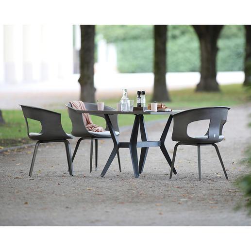 Tafeltisch, Universaltisch oder Outdoor-Schalensessel Aus Resysta, der Profi-Qualität von MBM, München. Nachhaltig, pflegeleicht, ganzjährig wetterfest.