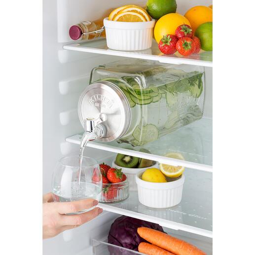 Getränkespender Fresh&Cold Platzsparend rechteckig (statt rund). Hygienisch aus Glas (statt Kunststoff). Im angesagten Retro-Style. Perfekt auch für (Garten-)Party, gesellige Runden, Buffet, ...