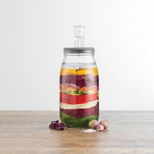 Dank des Gärventils im luftdichten Deckel entsteht kein Überdruck im Glas – für perfektes Gelingen Ihrer Delikatessen.