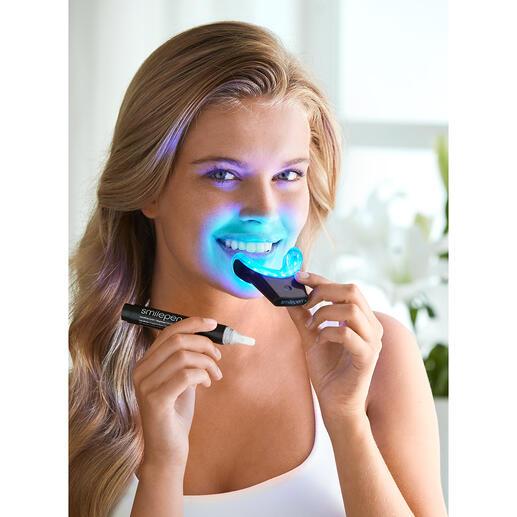 SmilePenPowerWhitening-Kit Bis zu 70 % weissere Zähne in 7 Tagen. Durch professionelles Bleaching-Gel unterstützt von einer kabellosen High-Power LED-Schiene.