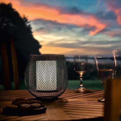 Mesh-Leuchte Doppelwandig feines Drahtgitter verzaubert die Leuchte mit magischem Effekt. Kabellos für drinnen und draussen.
