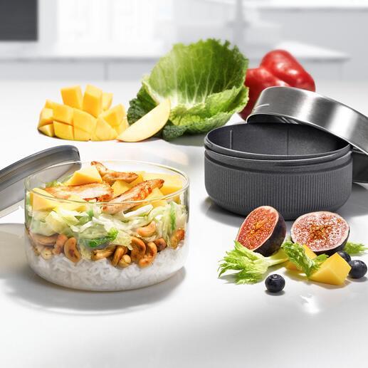 Lunch-Container mit Glasschale 100 % auslaufsicher, bruchfest und funktionell. Trend-Design von black+blum, London.