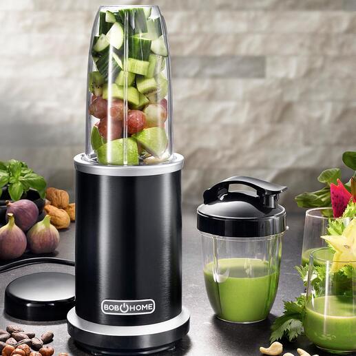 1.000-Watt Smoothie-Blender Extrahiert Obst und Gemüse restlos – mit enormen 27.000 U/min. (statt nur 20.000 U/min.). Und erhält die gesunden Nährstoffe.