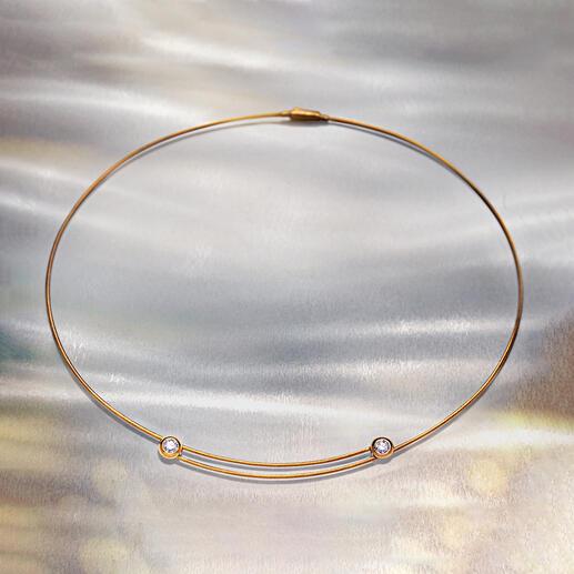 Kabelcollieroder -Ring mitBrillanten Durch genialen Mechanismus stufenlos verstellbar – ohne Verlängerungskettchen.