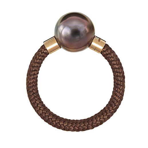 Tahiti-Armspange oder -Ring, roségold Exquisites, modernes Design aus Tahiti-Zuchtperlen, echtem Gold, Sterling-Silber und Nylon.
