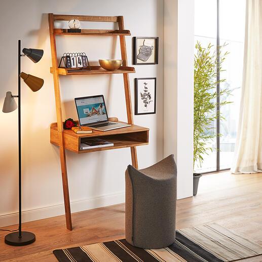 Eiche-Anstellsekretär Auf kleinstem Raum: Grosszügige Ablagefläche mit integriertem Schreibtisch.