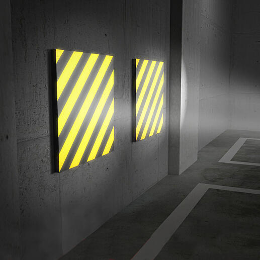 Einfallendes Licht reflektiert äusserst klar auf den gelb-schwarzen Streifen - ein deutliches Plus für mehr Sicherheit beim Einparken.