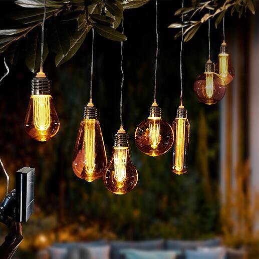 SolarVintageLeuchten Der Zauber nostalgischer Glühbirnen. Heute solarbetrieben neu entfacht. Schmückt Bäume, Terrasse, Balkon.