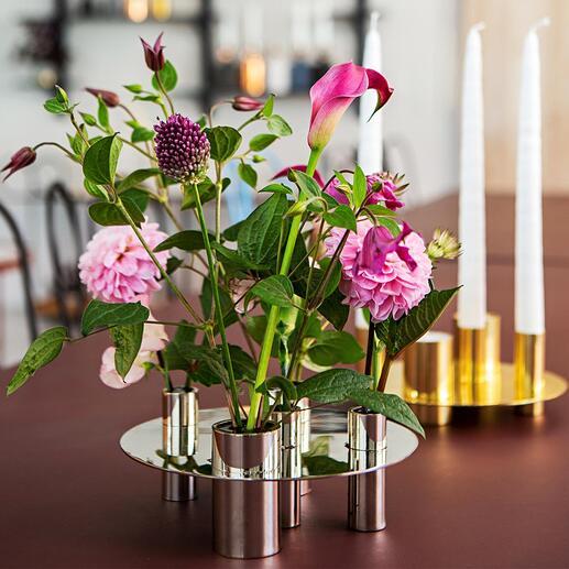 ReversibleVase/Kerzenständer Elegantes Ensemble für 5 Kerzen. Oder für duftige Blüten. Einfach um 180° geschwenkt – schon variabel nutzbar.