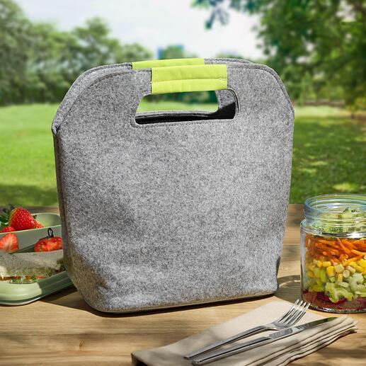 Filz-Kühltasche Aussen stylisch. Innen isoliert. Die coole Mini-Kühltasche aus Filz.