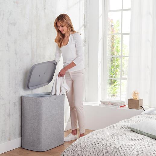 Wäschesammler Salonfähiges Design: der Wäschesammler mit Zwei-Kammer-System und 90 l Stauraum. Von Joseph Joseph, London.