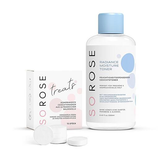 SOROSE® Gesichtstoner, 250ml Zweifach destilliertes Rosenwasser und Hyaluron-Säure pflegen Ihren Teint mit einem Power-Cocktail natürlicher Wirkstoffe.