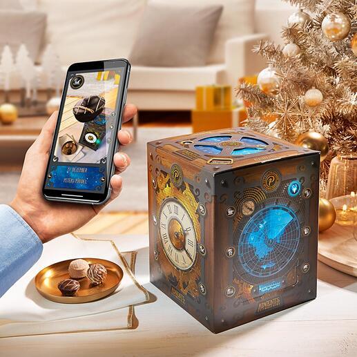 AdventskalenderZeitmaschine 24 Tage köstlicher Tüftlerspass für Zeitreisende. Von Peters, Edel-Chocolatiers mit über 80-jähriger Tradition.