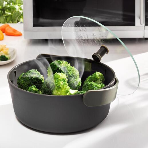 Mikrowellen-Dampfgarer Gemüse schnell und schonend Dampfgaren – jetzt ganz einfach in der Mikrowelle. Edles Design von Eva Solo, Dänemark.