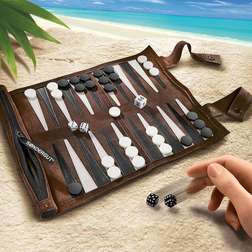 Reise-Backgammon - Aus weichem Veloursleder. Handliche Rolle im Taschenschirm-Format.