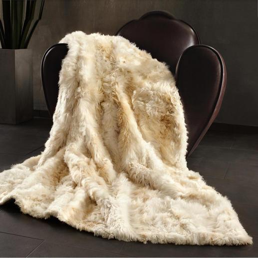 Alpakafell-Kissen oder -Decke - Hergestellt aus ausgesucht feinen, flauschig weichen Alpakafellen. Von Hand gefertigt.