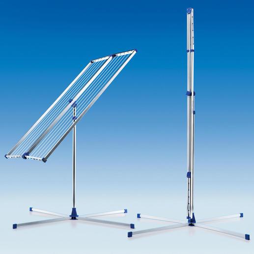 Zusammengefaltet misst Ihr Teleskop-Wäscheständer nur 4,5 x 10 x 189 cm (B x T x H) – leicht auch in schmalen Nischen zu verstauen.