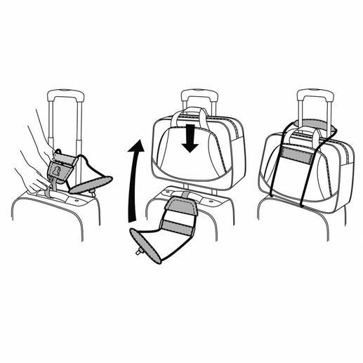 Spannen Sie die elastischen Microfaser-Bänder über Laptop-, Fototasche oder Ihr Beautycase. Dann einfach die stufenlos verstellbare Endschlaufe am Teleskopgriff des Trolleys festziehen. Fertig.