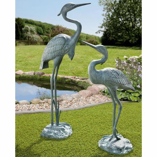 Gartenskulptur Fischreiher, 67 cm oder 90 cm - Nahezu lebensgross & mit wunderschöner Patina: ganzjährig ein eleganter Blickfang. Aus wetterfestem Aluminium.