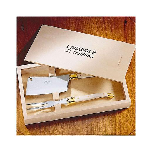 Das noble Käsebesteck erhalten Sie in einer hochwertigen Holzbox.