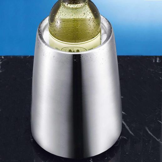 In nur 5 Minuten ist Ihr Weisswein auf Trinktemperatur gekühlt – für Stunden. Edelstahl-Weinkühler mit Rapid-Ice®-Element: kühlt statt nur zu isolieren – ohne tropfendes Eis.