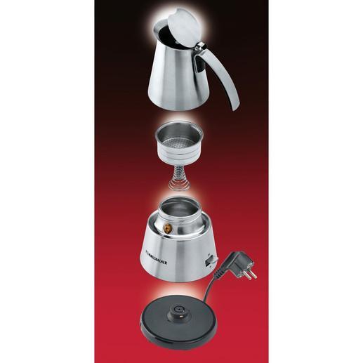 Durch den Dampfdruck steigt das kochende Wasser nach oben und wird durch das Espressomehl gepresst – die Aromastoffe können sich optimal entfalten.