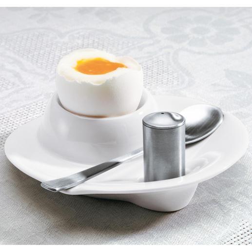 Eierbecher mit Salzstreuer und Löffel, 2er-Set - Aus weissem Hartporzellan und mattiertem 18/10-Edelstahl: passend zu jedem Geschirr.