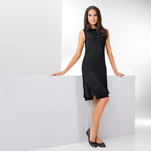 Who's Who Feinstrick-Kleid Strick. Materialmix. Schwarz. 3 modische Treffer – 1 Kleid. Made in Italy. Von Who's Who.