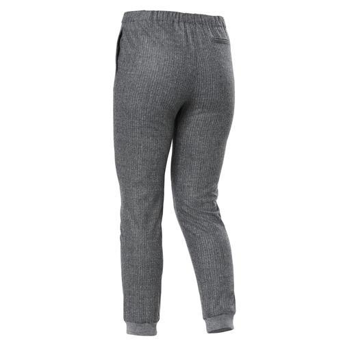 Les Copains Flanell-Jogg-Pants Dauerbrenner Jogg-Pants – dank grauem Nadelstreifen-Flanell elegant genug zu jedem Anlass.