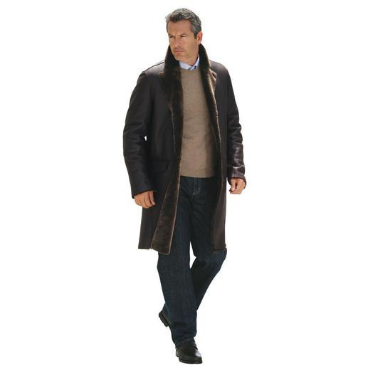 Lammfellmantel Der 1.450 g Lammfell-Mantel wärmt besser als 2 kg schwere Leder-Jacken. Aus seidenweichem, spanischem Merino-Lammfell.