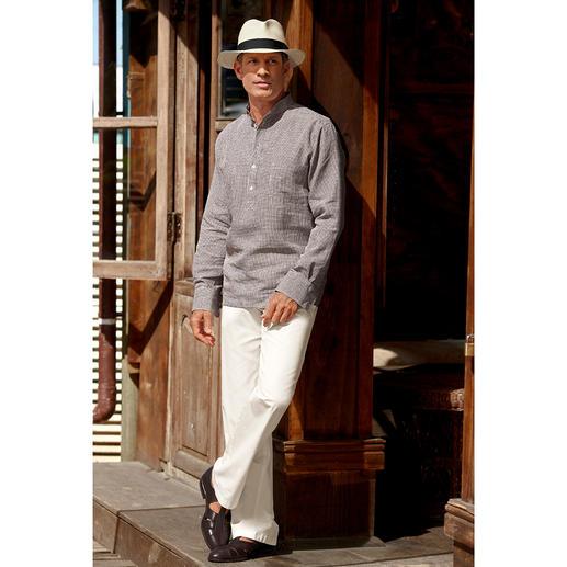 Nehru-Leinenhemd Hollingtons original Stehkragenhemd.