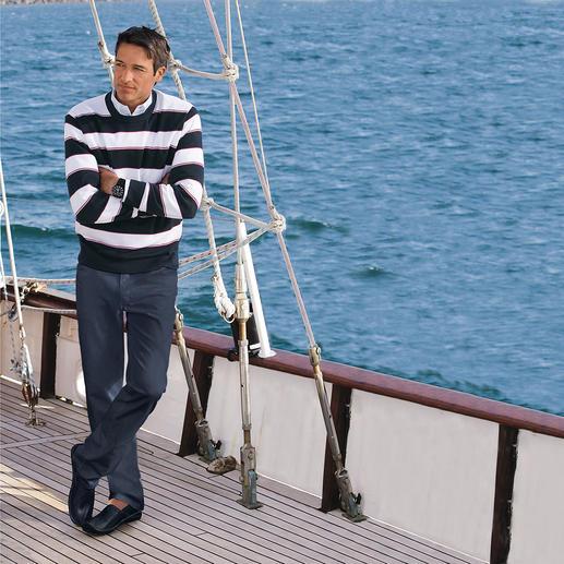 """Pima-Pullover """"Maritime Block Stripes"""" Leicht, luftig und streichelzart auf blosser Haut: Der Pulli aus seltener Pima-Cotton."""