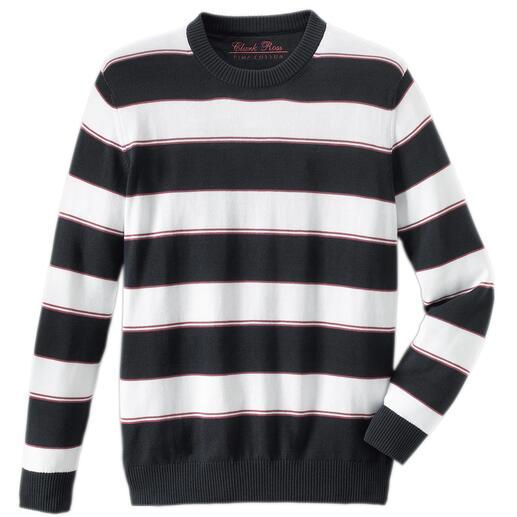 Pima-Pullover Maritime Block Stripes Leicht, luftig und streichelzart auf blosser Haut: Der Pulli aus seltener Pima-Cotton.