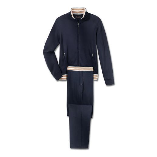 Pima-Cotton Herren-Homesuit, Marineblau Am Ende eines langen Tages verwöhnt Sie der weiche Komfort handgepflückter, peruanischer Pima-Cotton.