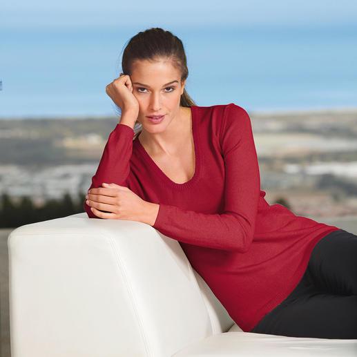 Woolsensation® Rundhals-Pullover oder V-Pullover Zart wie ein Streicheln. Leichter Strick aus Merino-Extrafein - unglaublich weich und nahezu Pilling frei.