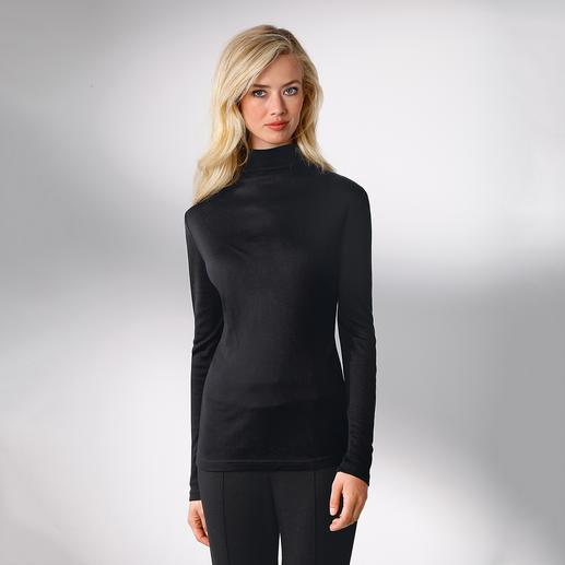 Seiden-Tencel®-Shirt Wärmt, ohne aufzutragen: Das perfekte Shirt unter schlanken Blazern und Jacken. Aus Seide, Tencel® und Wolle.