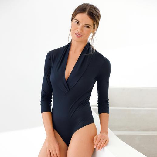 Fogal Schalkragen-String-Body - Einen so eleganten Body werden Sie selten finden. Als T-Shirt-Ersatz zu Jeans. Und sogar zum Business-Blazer.