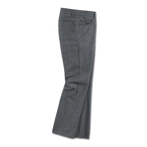 Five-Pocket-Wollhose, Grau - Selten zu finden: eine sportive Five-Pocket aus wärmender Wolle. Vom Hosen-Spezialisten Dimensione.