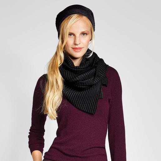 """Plissee-Fleece-Beanie oder -Schal Preisgekröntes Design aus Schweden: """"Pleece"""". Aussergewöhnlich elegant, soft und wärmend."""
