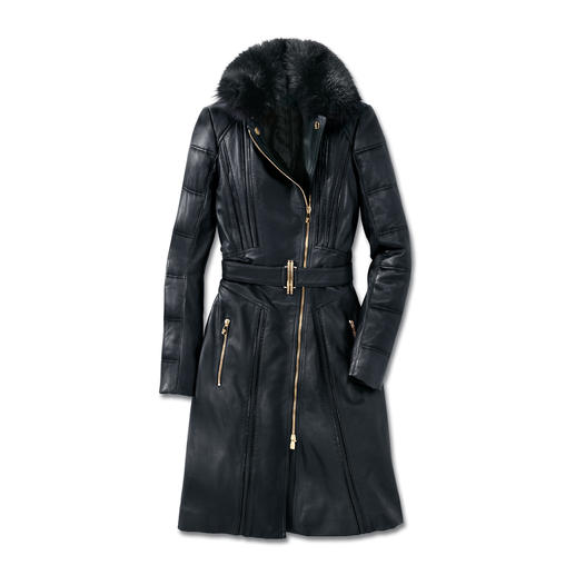 Versace Collection Lammleder-Bikermantel Versaces Biker-Trend de luxe: Feminin sexy. Modisch rockig. Und winterwarm.