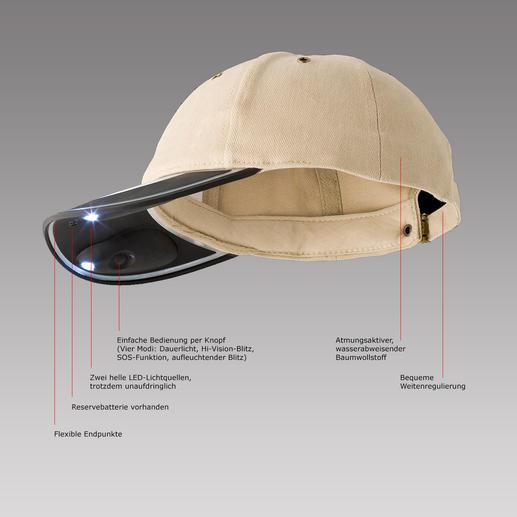 Solarlicht-Kappe Sonnenschutz bei Tag, Licht bei Dunkelheit: Ohne Batterie. Ohne Strom. Und beide Hände frei.