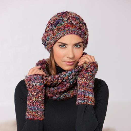 Kero Design Dornröschen-Beanie-Mütze, -Fingerlos-Handschuhe oder -Loop-Schal Von Hand gefärbt und gestrickt: Seltenes Dornröschen-Muster in aussergewöhnlicher Farbvielfalt.